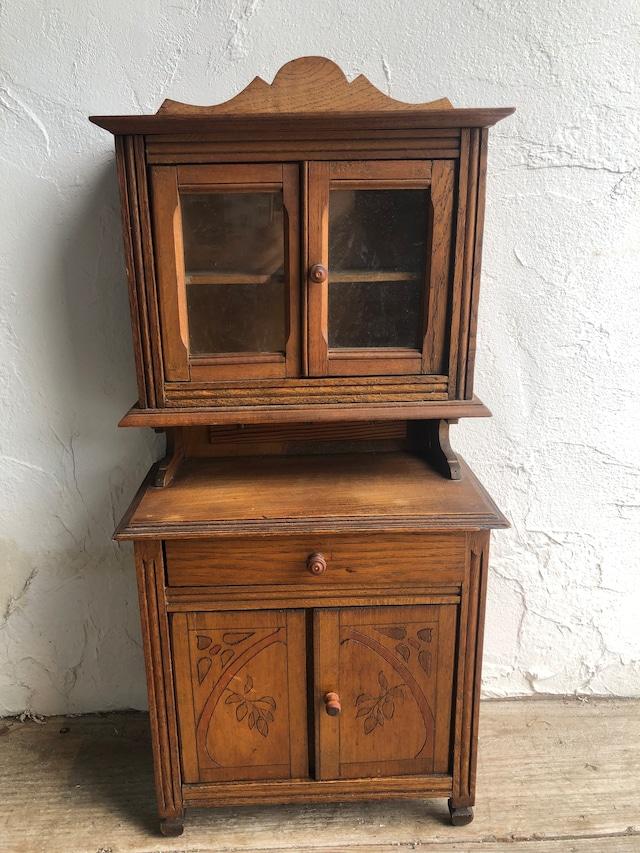 木製ブラウンミニキャビネット 食器棚