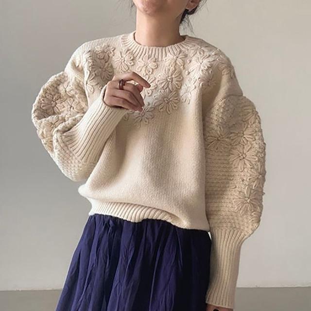 Flower design knit KRE1072