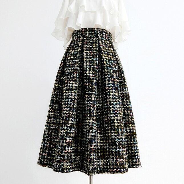 ツイードウールフレアスカート