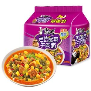 【常温便】康師傅老壇酸菜牛肉面五连包(酸菜入り、インスタントラーメン)
