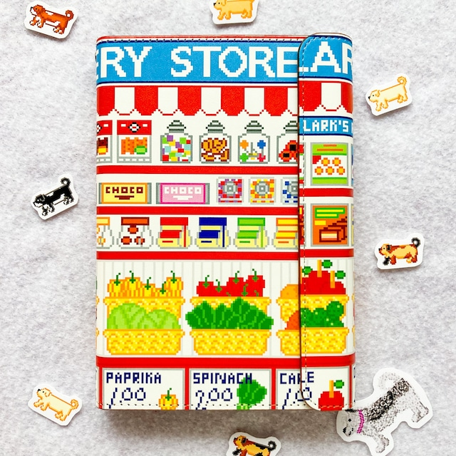 システム手帳ミニ6穴(ポケット)サイズ  スーパーマーケット柄