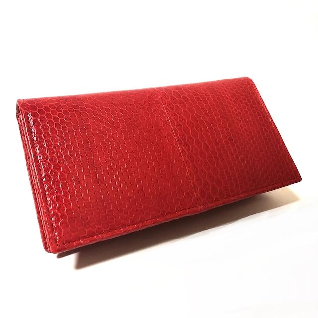 ウミヘビ 海蛇 二つ折り財布 シースネーク 長財布 レッド