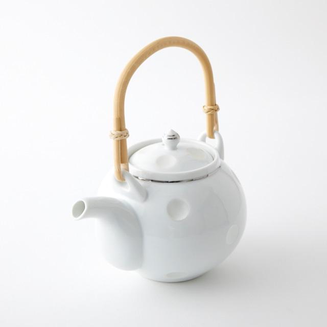 銀ライン彫水玉 土瓶 (藤弦)