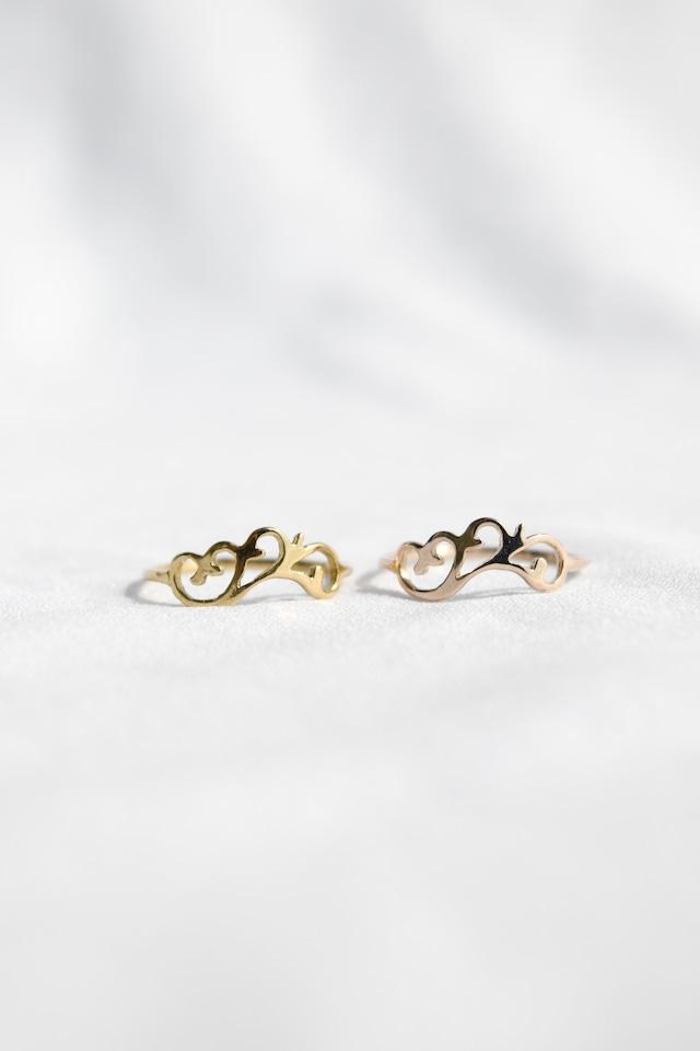 K10 Arabesque Design Ring thin 10金アラベスクデザインリング(細)