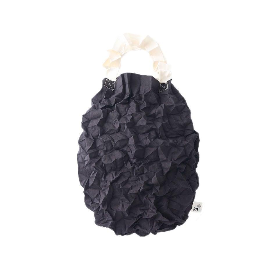 kna plus KUSHA - crumpled トートバッグ  エコバッグ 濡羽色 BLACK