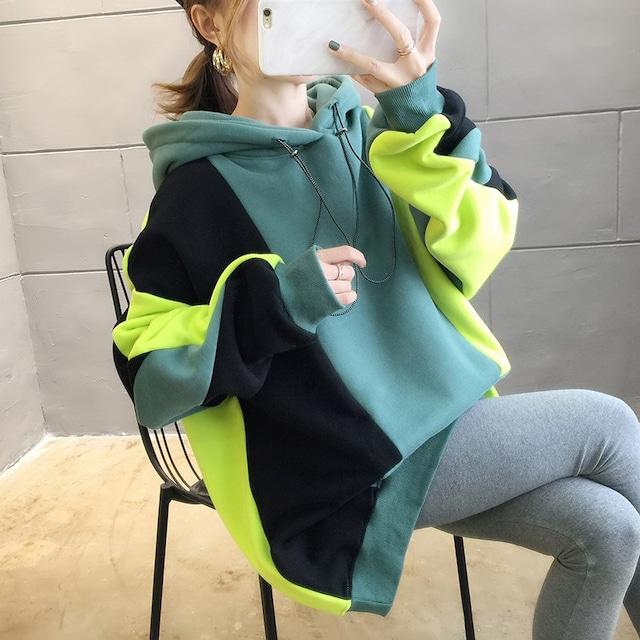 【トップス】売れ筋配色フード付きゆったりファッションパーカー52634813