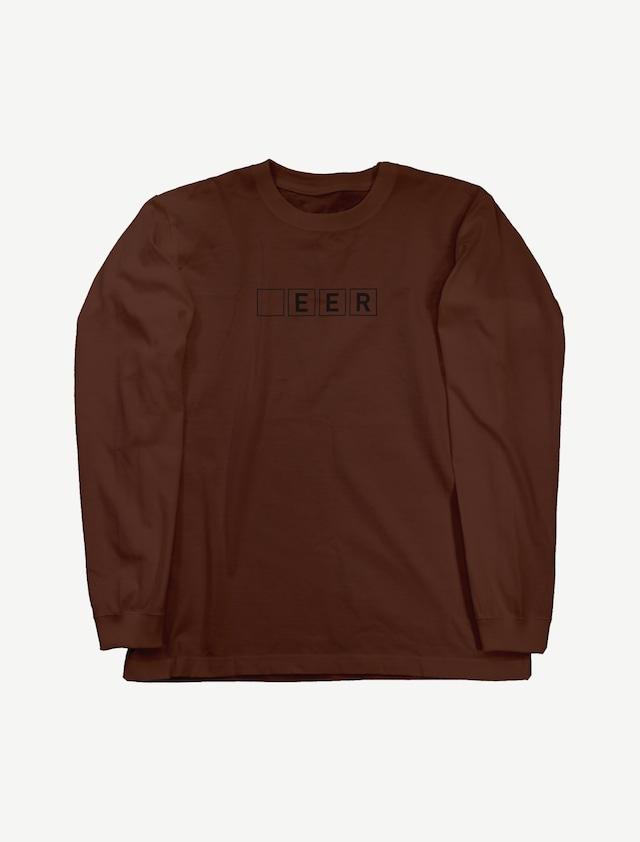 【□EER】ロングスリーブTシャツ(ダークブラウン)