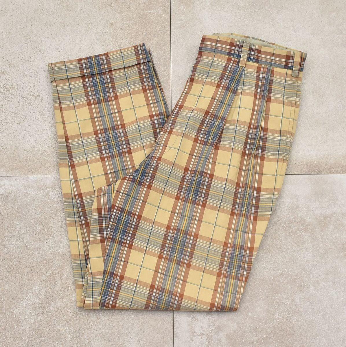 STUNBURY 2tuck cotton check slacks