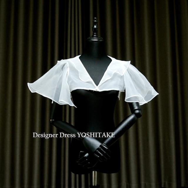 【オーダー制作】ウエディングドレス(無料パニエ) 二の腕・肩・背中を可愛らしく見せるワンアイテム.ウエディングドレス用白ストール※制作期間3週間から6週間