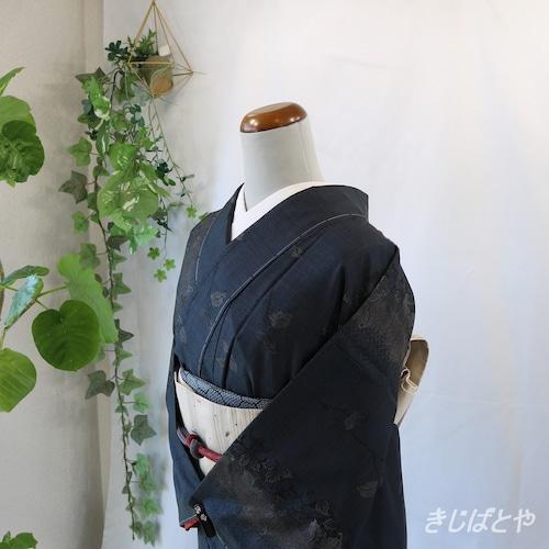 大島紬 紺に葉の小紋 袷