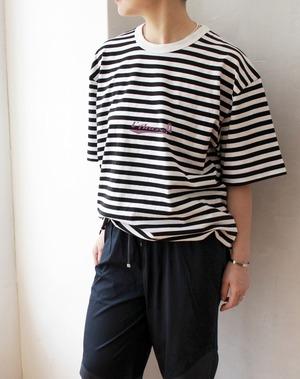 L'Ancre (アンカー)オールドマリンロゴボーダーTシャツ