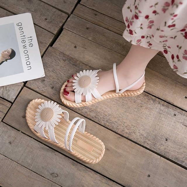 【潮卡芙シリーズ】★サンダル★3color 靴 カジュアル ゴム 花 白 ベージュ 黒 夏 合わせやすい サイズ35-40