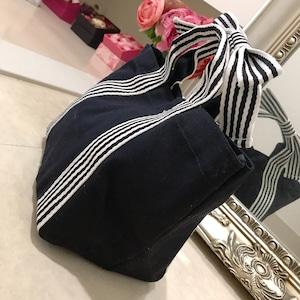 【送料200円】全6色ストライプリボントートバッグ(ランチバッグサイズ)