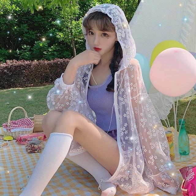【アウター】UVカット薄透かし感ファッションキュート花柄Tシャツ30693939