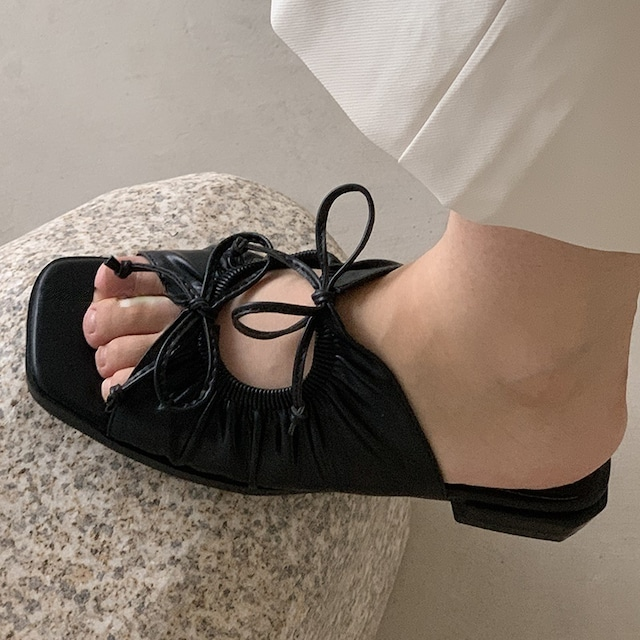Square toe lace-up sandals(スクエアトゥレースアップサンダル)b-284
