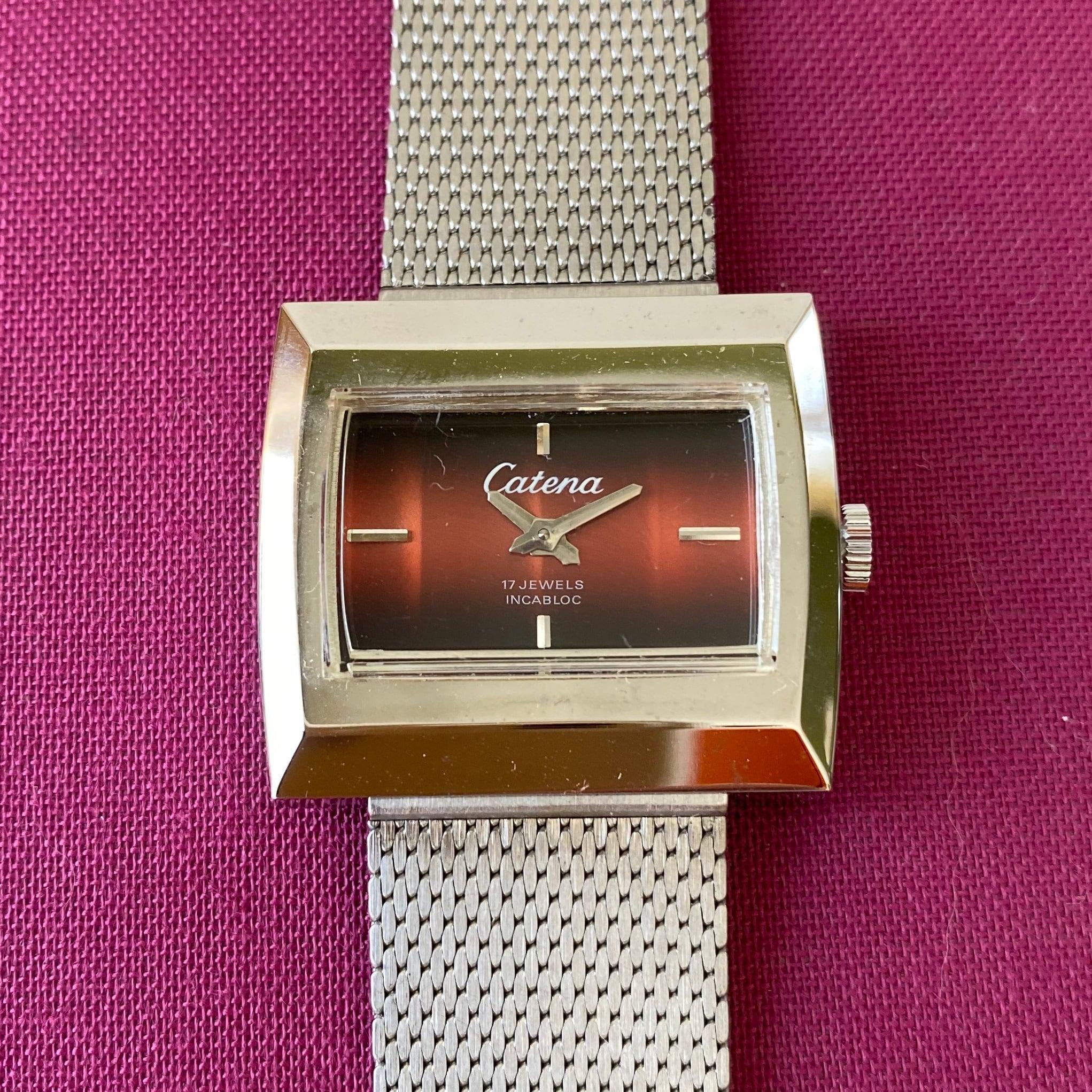 Swiss1960年代手巻き式腕時計(ブラウン・スクエア) / ac0047