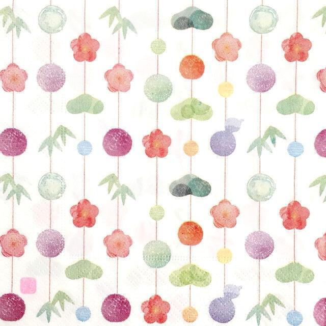 【FRONTIA】バラ売り1枚 ランチサイズ ペーパーナプキン 吊るし飾り ホワイト