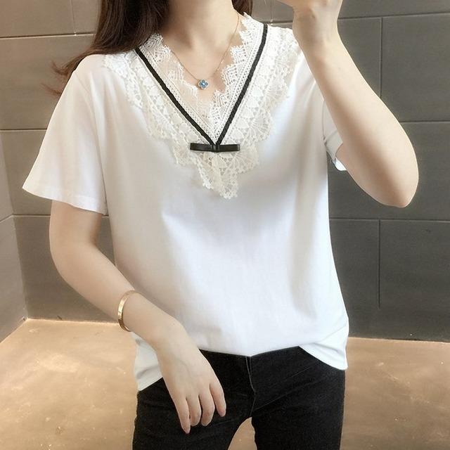 リボンレースTシャツ 1235