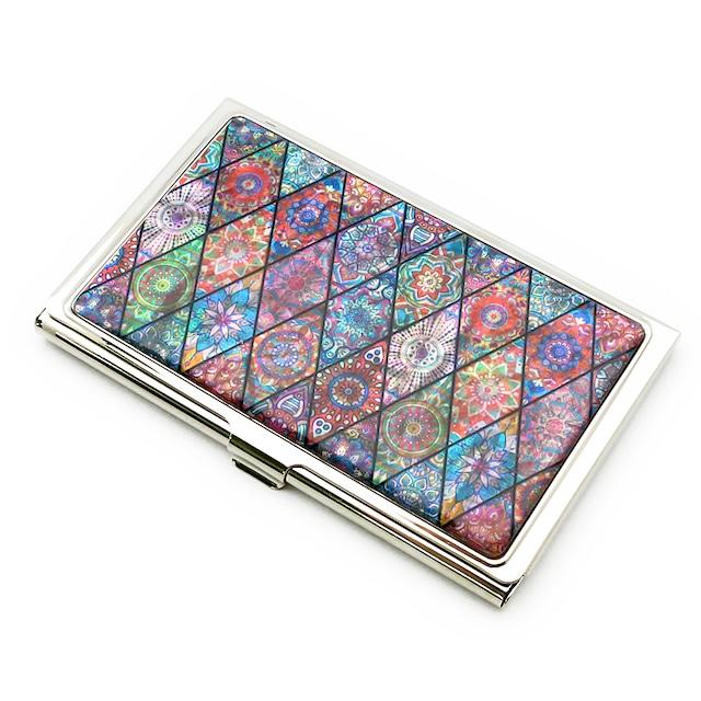 天然貝 名刺カードケース(ピンクモロッコタイル)シェル・螺鈿アート