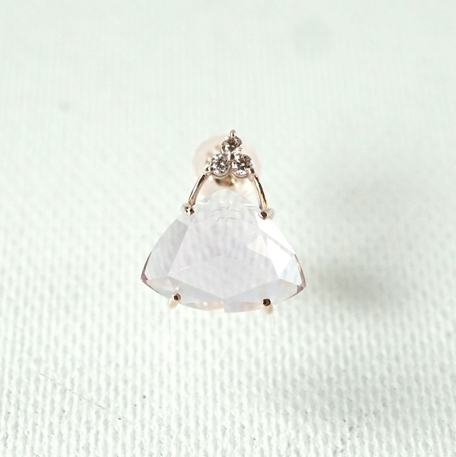 Tri-cut gem pierce Lavender quartz 片耳 - K10YG