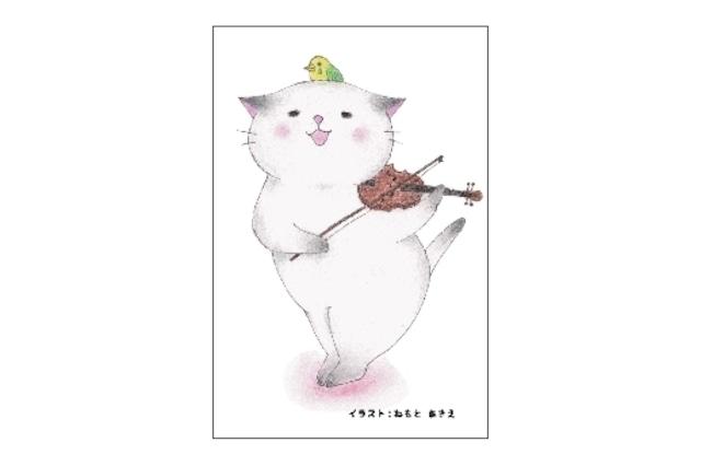 バイオリン猫のポストカード(4枚セット)