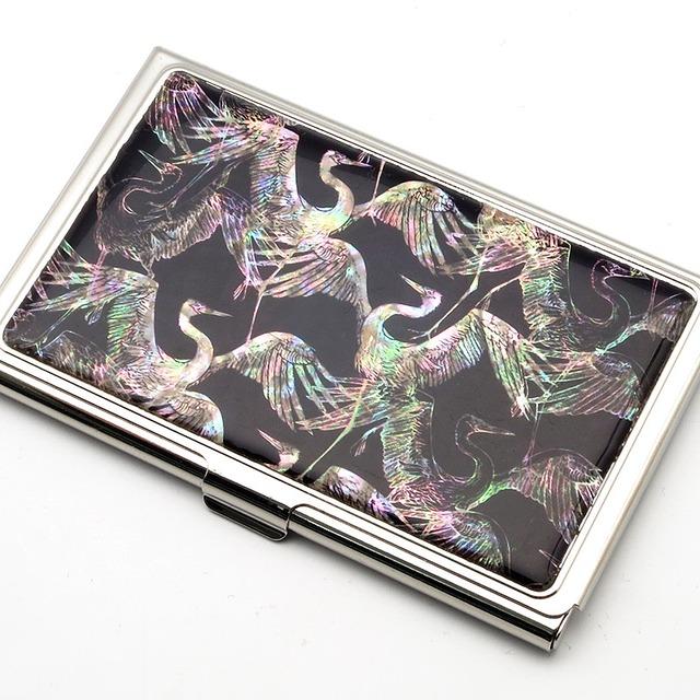 天然貝 名刺カードケース(鶴の舞)シェル・螺鈿アート
