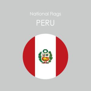 円形国旗ステッカー「ペルー」