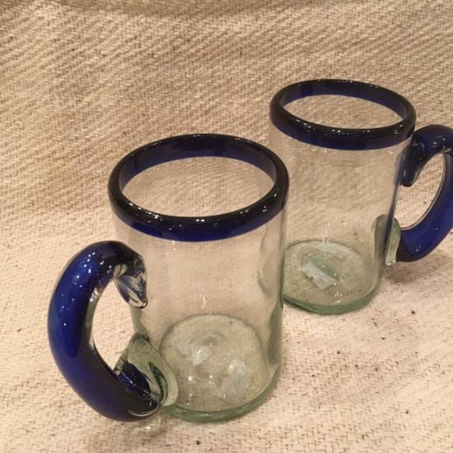 メキシコリサイクルガラス ビールグラス ブルー