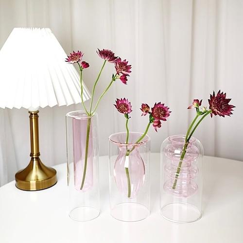 pink objet vase 3types / ピンク オブジェ ベース シリンダー 花瓶 2重 韓国 北欧 インテリア 雑貨