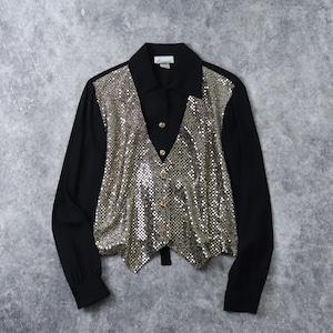 """80年代 USA製 """"goanna""""ゴアンナ デザインシャツ ベスト付きシャツ ゴールドラメ加工  アメリカ古着 ブラック レディース M  80's usa Vintage  Design Shirts"""