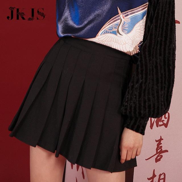 【JKJSシリーズ】★ミニスカート★ プリーツスカート 着痩せ ハイウエスト Aライン S M L LL ブラック 黒い