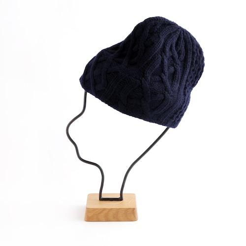 mature ha./slant cutting knit cap aran 2 lamb navy