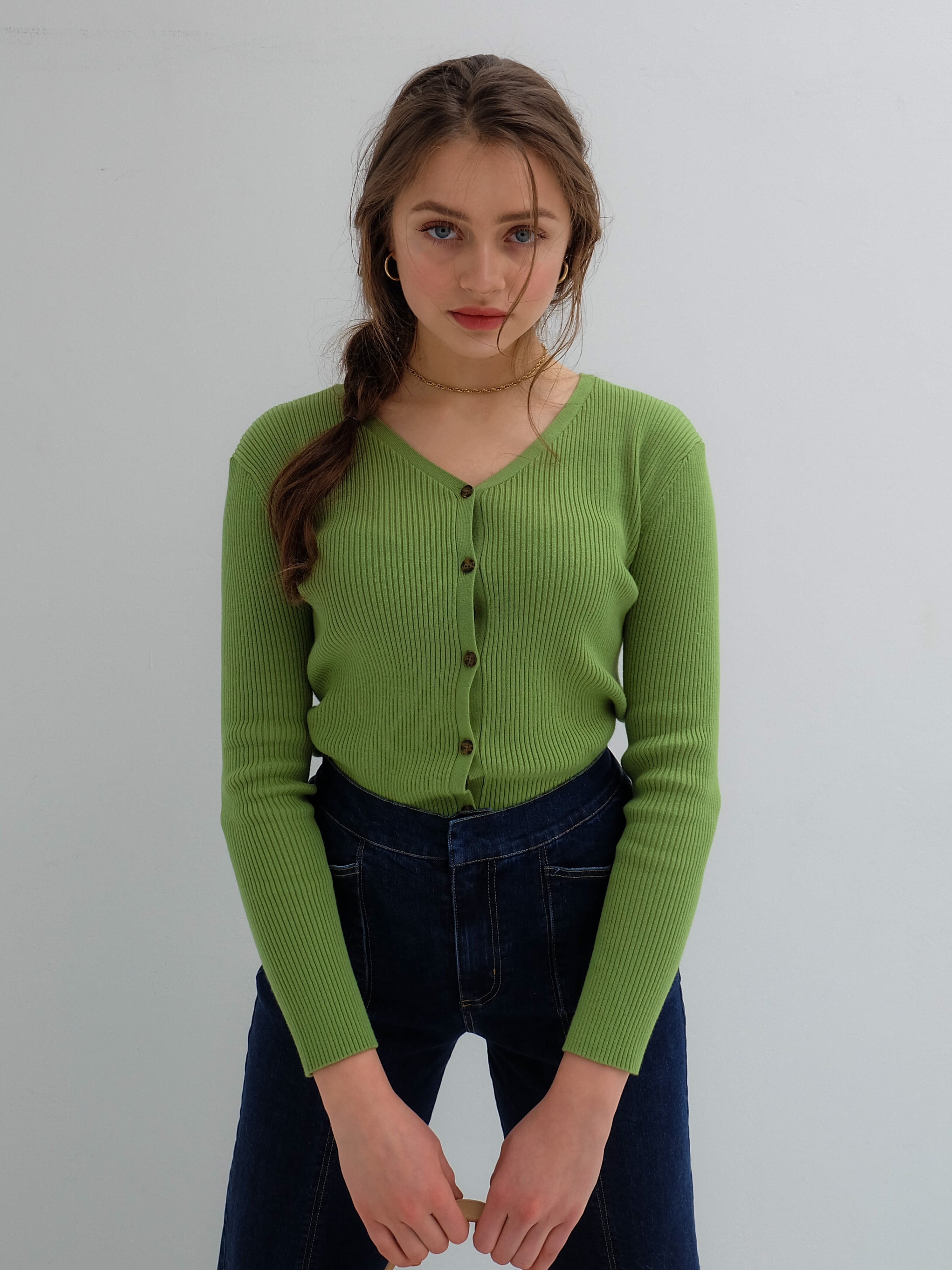 2way rib knit(yellow green)