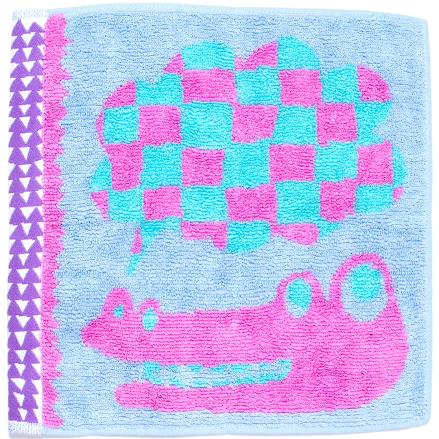 ひびのこづえ ミニタオル おしゃべり / ワニ ライトブルー 25x25cm 綿100% 日本製 KH16-05