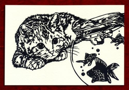 切り絵ポストカードno012 金魚を見つめる猫(E-4-01712)