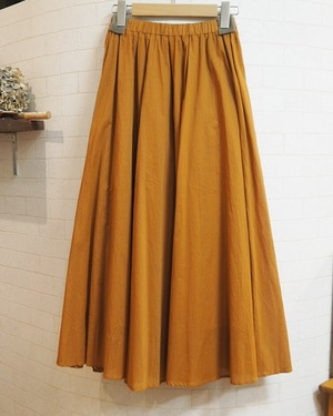 【SALE】cotton long skirt  <camel orange>