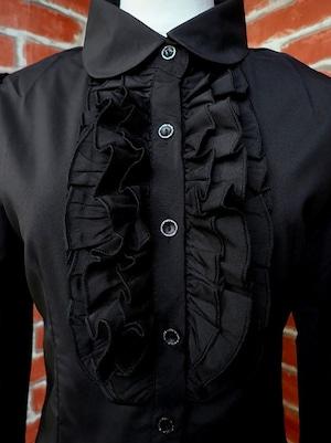 フリルブラウス 胸元フリルフォーマルブラウスL 黒