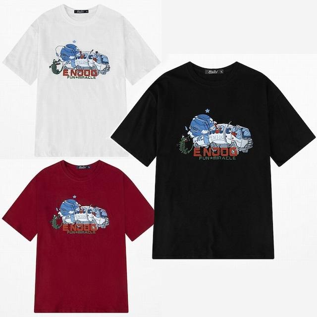 ユニセックス 半袖 Tシャツ メンズ レディース 地球 トラック プリント オーバーサイズ 大きいサイズ ルーズ ストリート TBN-610511285302