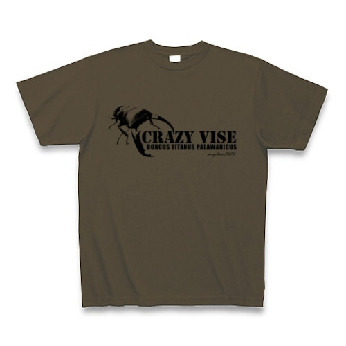 パラワンオオヒラタクワガタ Tシャツ -maylime- オリジナルデザイン オリーブ