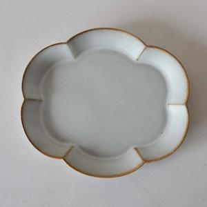 中林範夫(さんちゃ窯)白楕円花皿 7寸(007)
