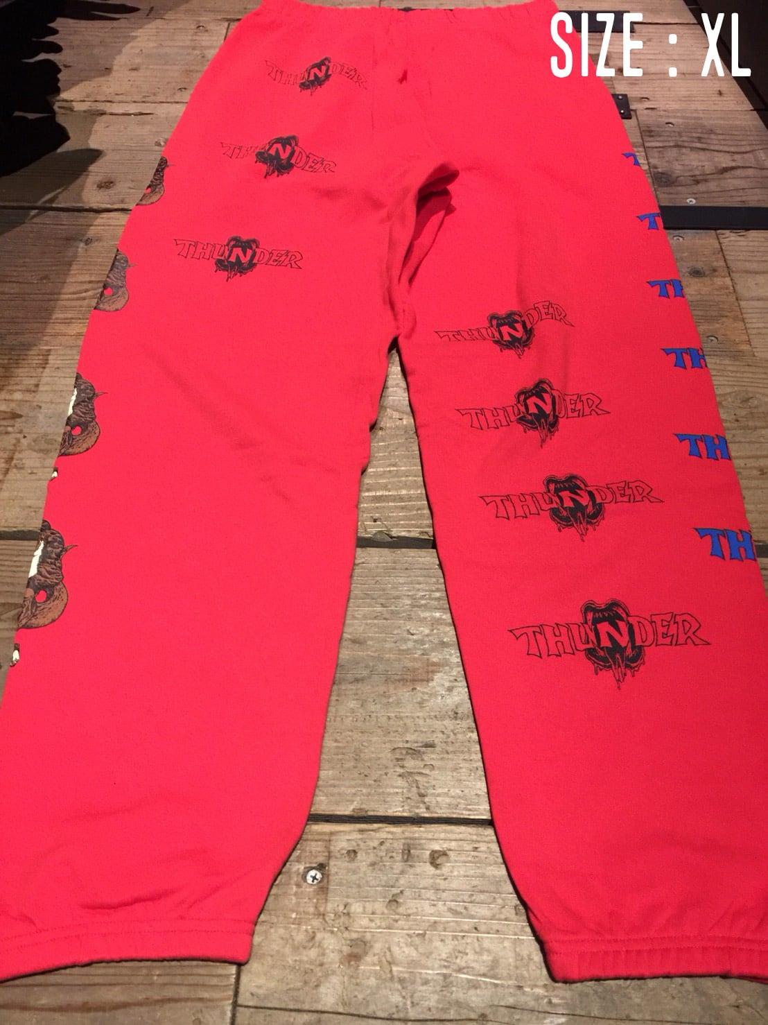 "BD別注 THUNDER ""MONSTER"" SWEAT PANTS GRAY, BLUE, RED"