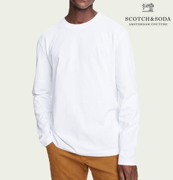 スコッチ&ソーダ SCOTCH&SODA ロンT 長袖 Tシャツ 無地 メンズ トップス 282-23402 White