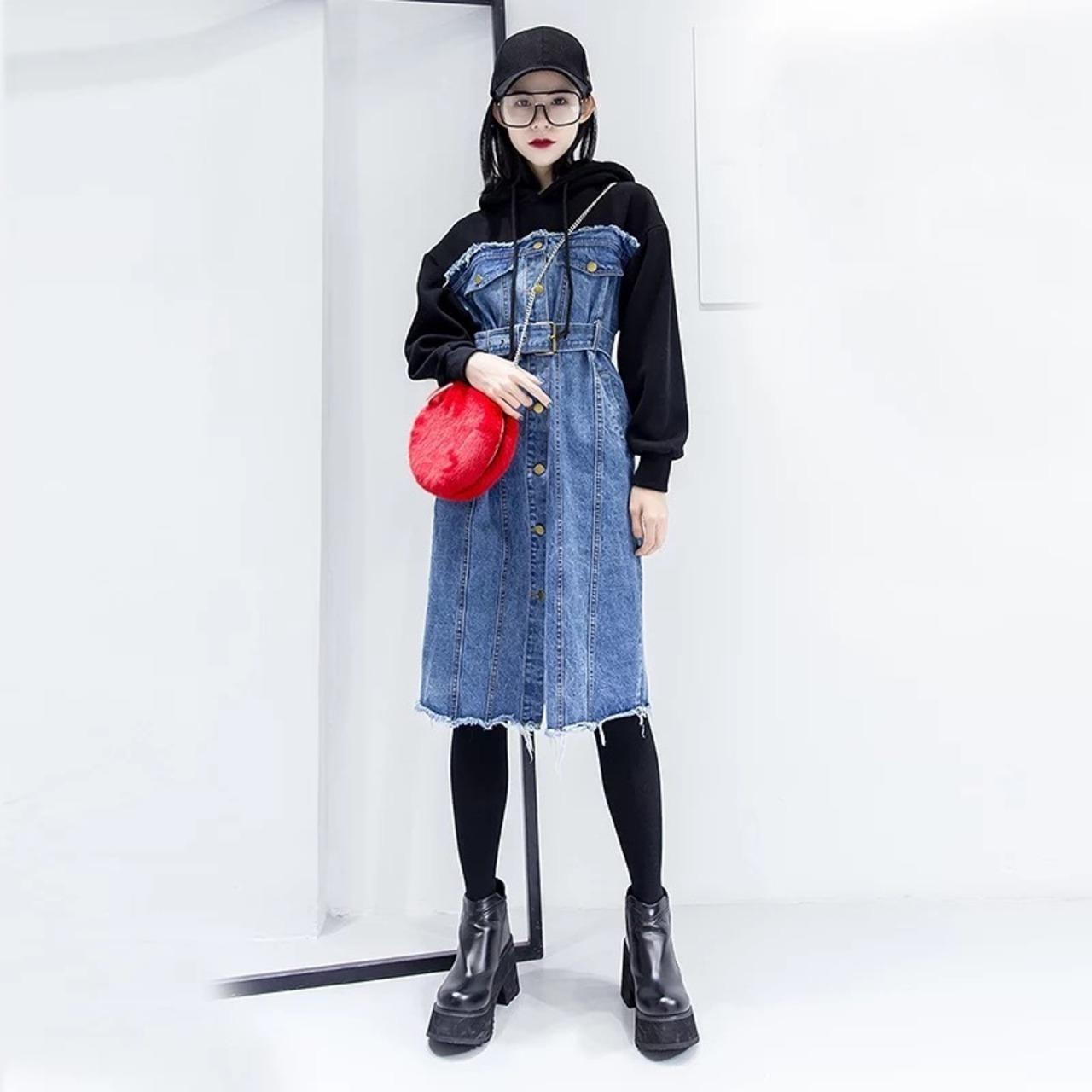 【即納】hood parker denim onepiece