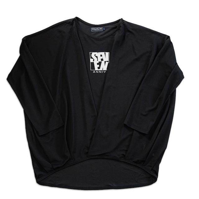 drape Long sleeves tops ブラック