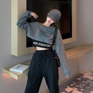 【セット】「単品注文」ファッション長袖ラウンドネックプルオーバー切り替えTシャツ+パンツ52388747