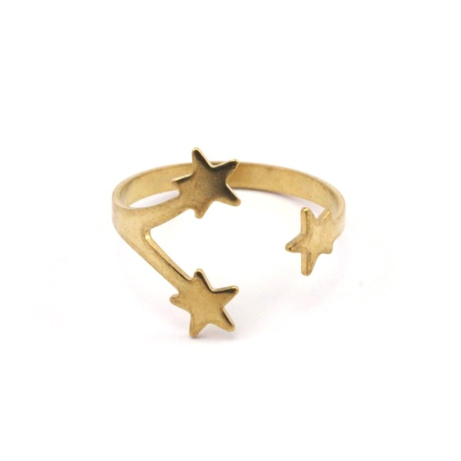 Raw brass Rings - Starリング  RG-012