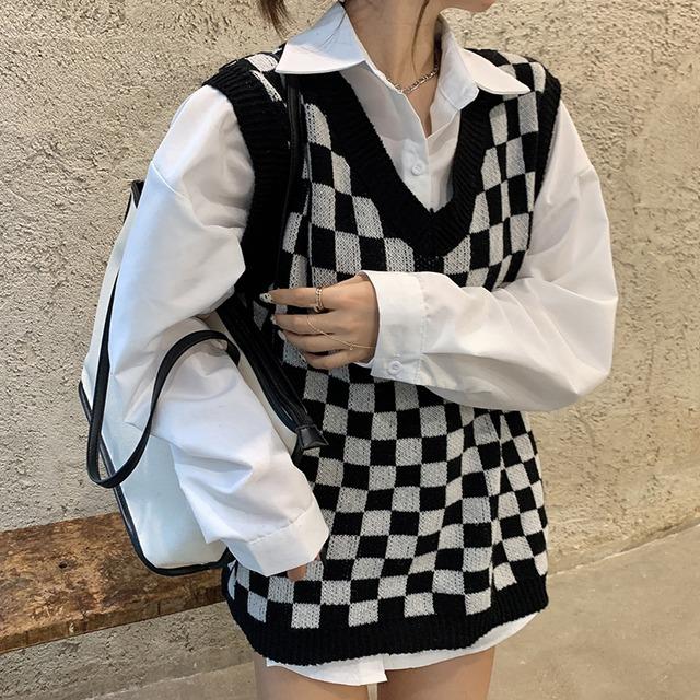 【セット】「単品注文」長袖ファッションシンプルチェック柄シャツ+ベスト42895535