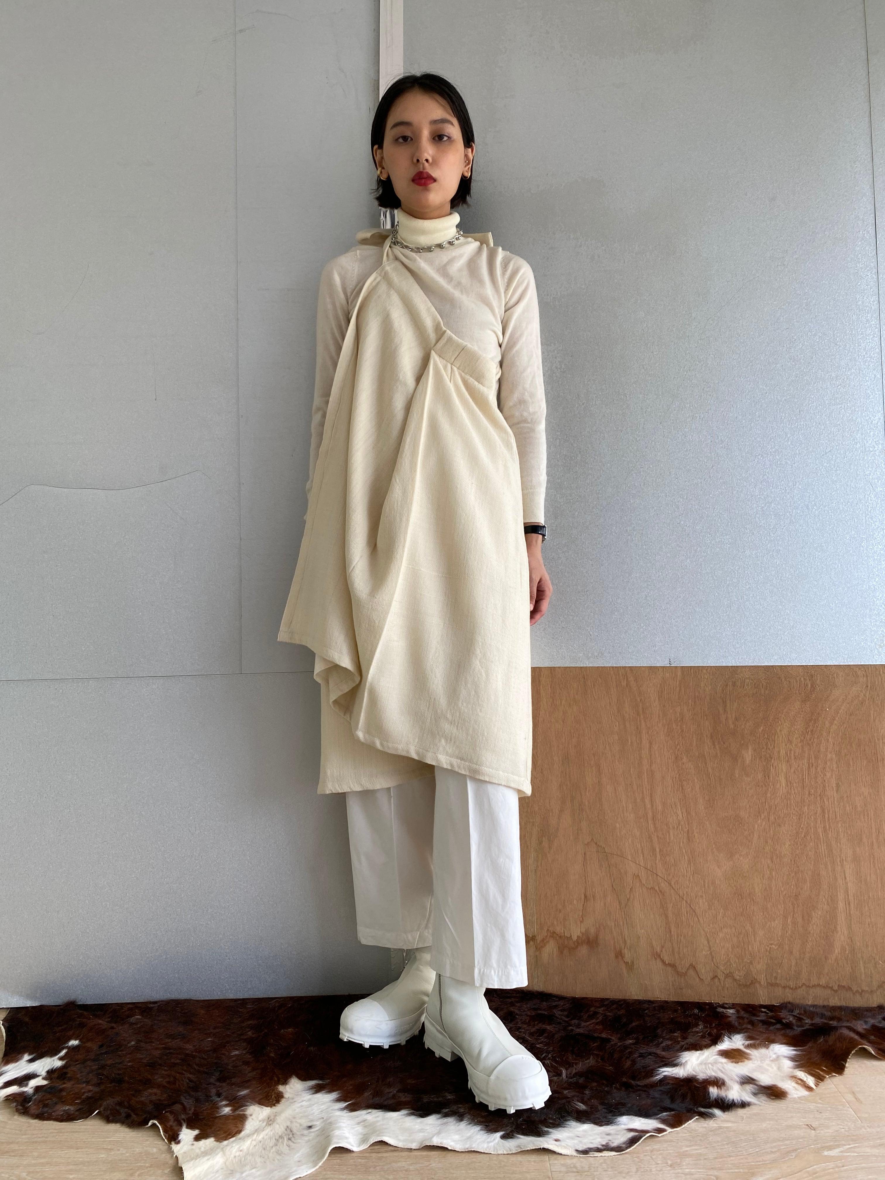 "Wrapped Skirt ""Off white"" khadi wool"