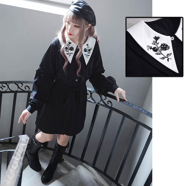 【浮华シリーズ】チャイナ風ワンピース 袖取り外し可能 刺繍入り ブラック黒い S M L リボン付き