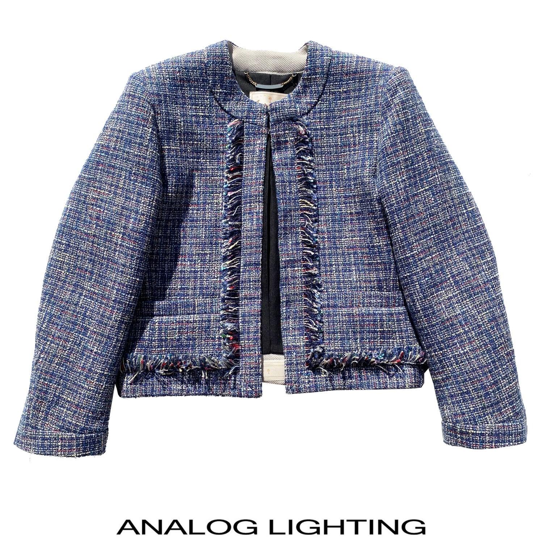 No Collar Jacket/MIX TWEED BLUE